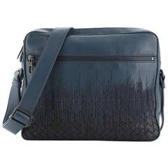Bottega Veneta Front Zip Pocket Messenger Bag Leather with Embroidery
