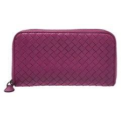 Bottega Veneta Fuchsia Intrecciato Leather Zip Around Wallet