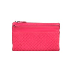 Bottega Veneta Fuchsia Woven Intrecciato Leather Fold Over Wallet