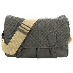 Bottega Veneta Gardena Messenger Bag Cervo Leather with Intrecciato Detail Large