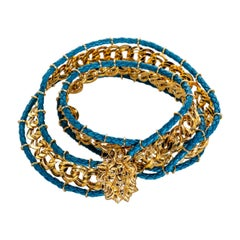 Bottega Veneta Gold Chain Turquoise Leather Lion Head Belt, 1990s