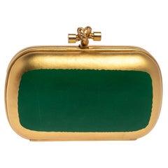 Bottega Veneta Gold/Green Gilded Waxed Leather Knot Clutch