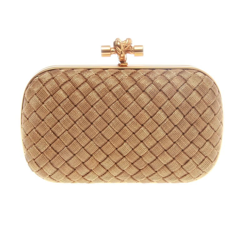 3b985eff6e Bottega Veneta Gold Knot Clutch at 1stdibs