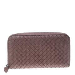Bottega Veneta Grape Intrecciato Nappa Leather Zip Wallet