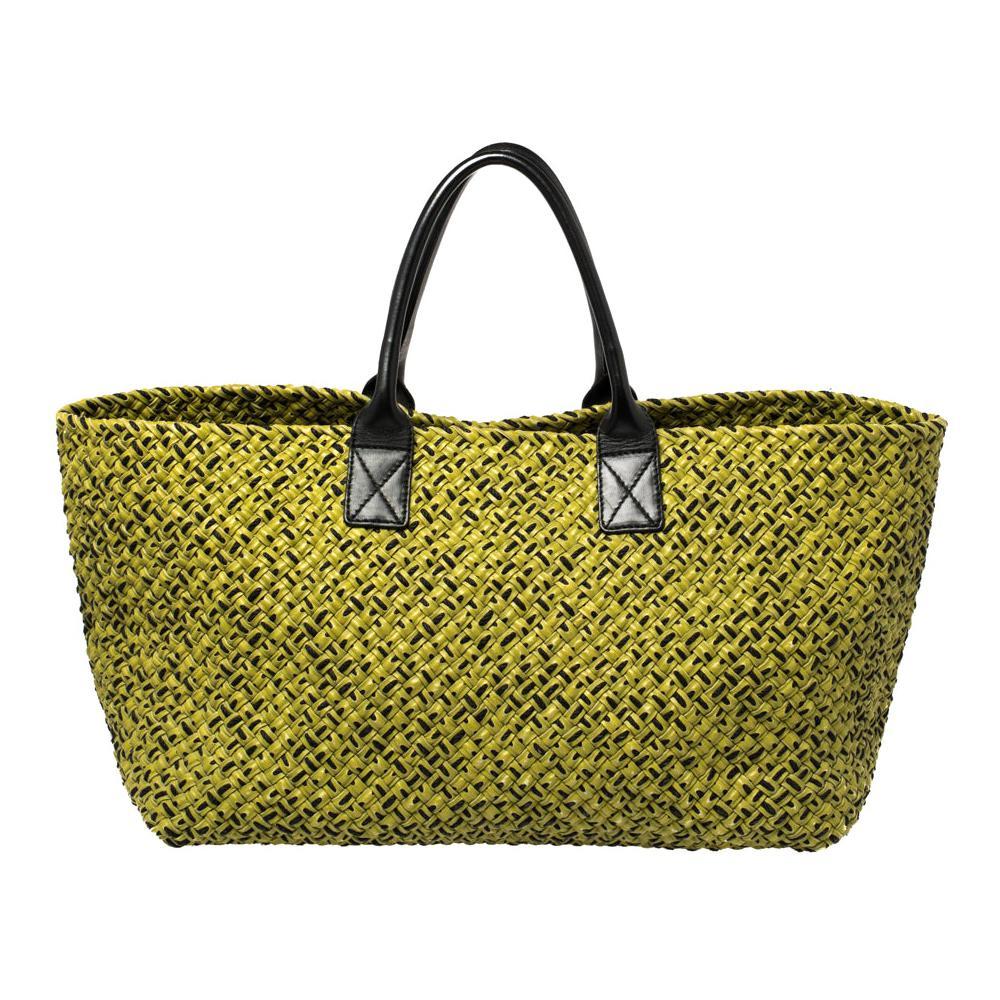 Bottega Veneta Green/Black Intrecciato Leather and Fabric Limited Edition Large