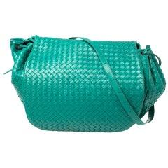 Bottega Veneta Green Intrecciato Leather Drawstring Flap Shoulder Bag