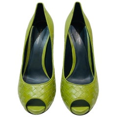 Bottega Veneta Green Intrecciato Leather Open Toes  High Heels