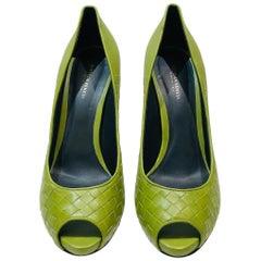 Bottega Veneta Green Intrecciato Leather Open Toes  High Heels