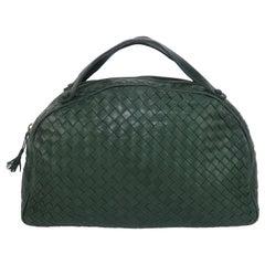 Bottega Veneta Green Intrecciato Leather Satchel Handbag