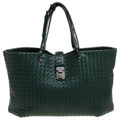 Bottega Veneta Green Intrecciato Leather Shopper Tote