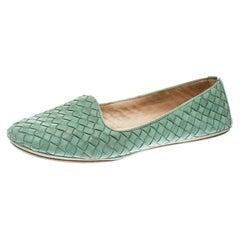 Bottega Veneta Green Intrecciato Leather Smoking Slippers Size 40