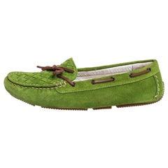 Bottega Veneta Green Intrecciato Suede Bow Slip on Loafers Size 38
