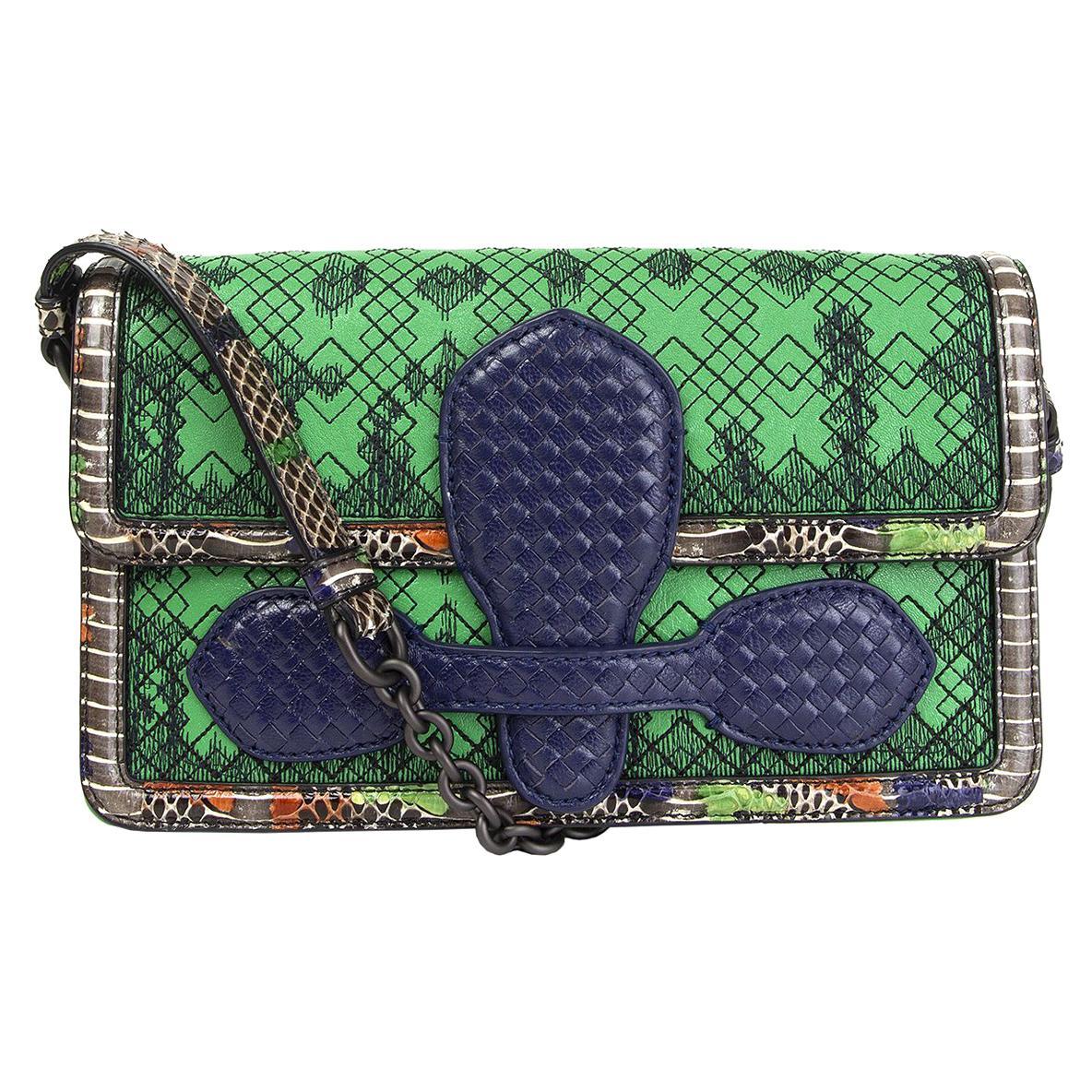 BOTTEGA VENETA green & purple leather IRISH MADRAS Shoulder Bag