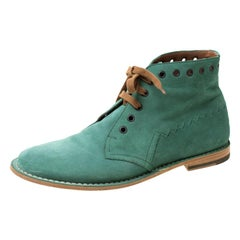 Bottega Veneta Green Suede Lace Up Boots Size 42
