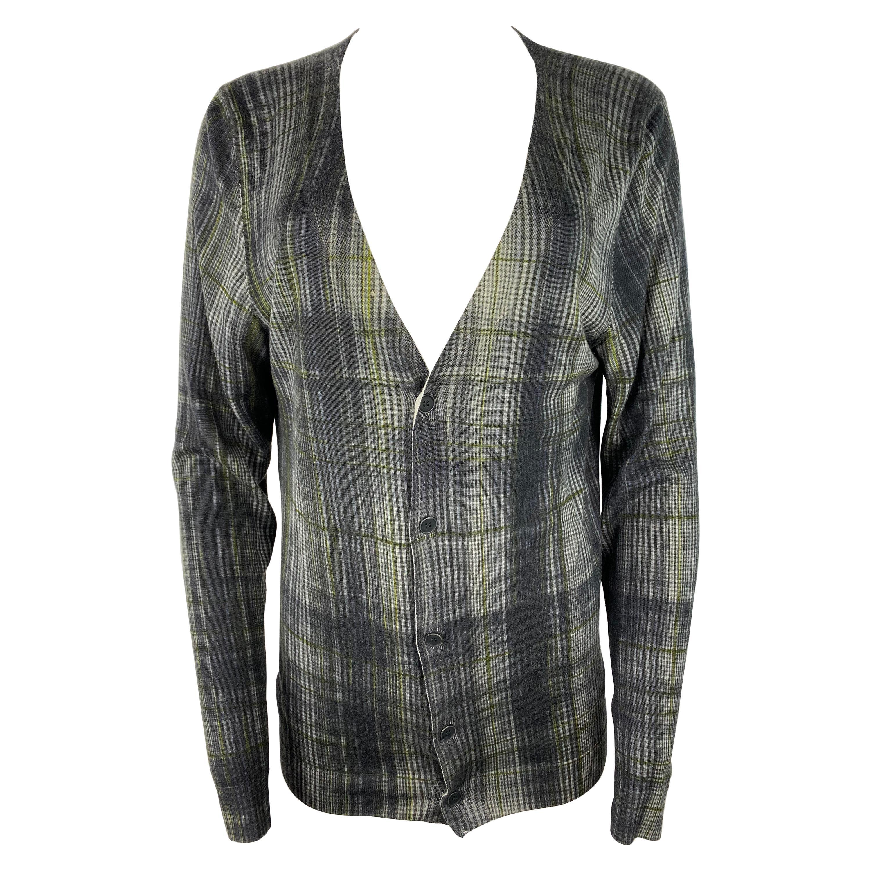 Bottega Veneta Grey and Green Cashmere and Silk Plaid Cardigan Sweater