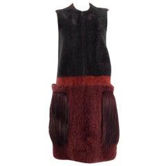BOTTEGA VENETA grey burgundy FUR POCKET SHEARLING Vest Coat Jacket 38 XS