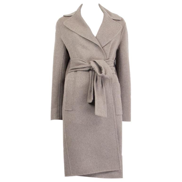 BOTTEGA VENETA grey cashmere TIE WAIST Coat Jacket 38 XS