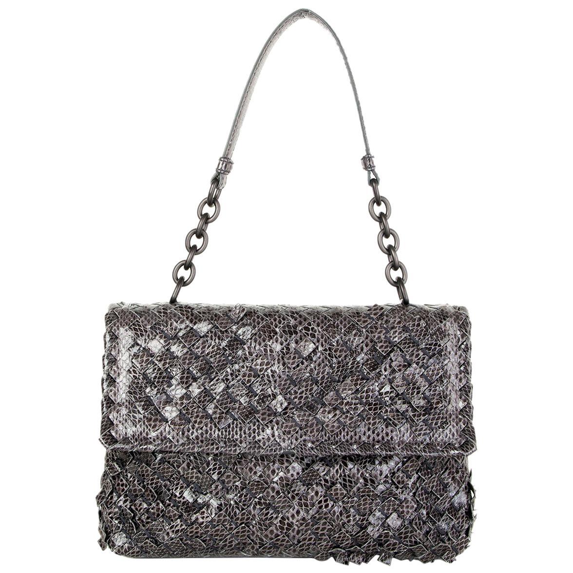 BOTTEGA VENETA grey INTRECCIATO AYERS BABY OLIMPIA Shoulder Bag