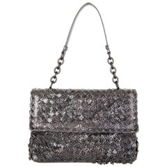 BOTTEGA VENETA grey INTRECCIATO AYERS BABY OLIMPIA Shoulder Bag