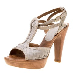 Bottega Veneta Grey Intrecciato Leather Ankle Strap Platform Sandals Size 36