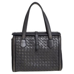 Bottega Veneta Grey Intrecciato Leather Flap Tote