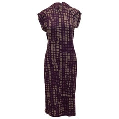 Bottega Veneta Grey & Purple Wool Maxi Dress