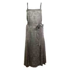 Bottega Veneta Grey Silk Multi Flower Sleeveless Dress w/ Belt Size 40