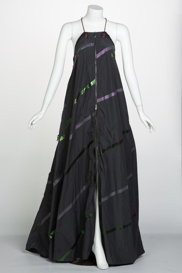 Black Bottega Veneta Grey Stripe Zipper Gown Runway Spring 2016 For Sale