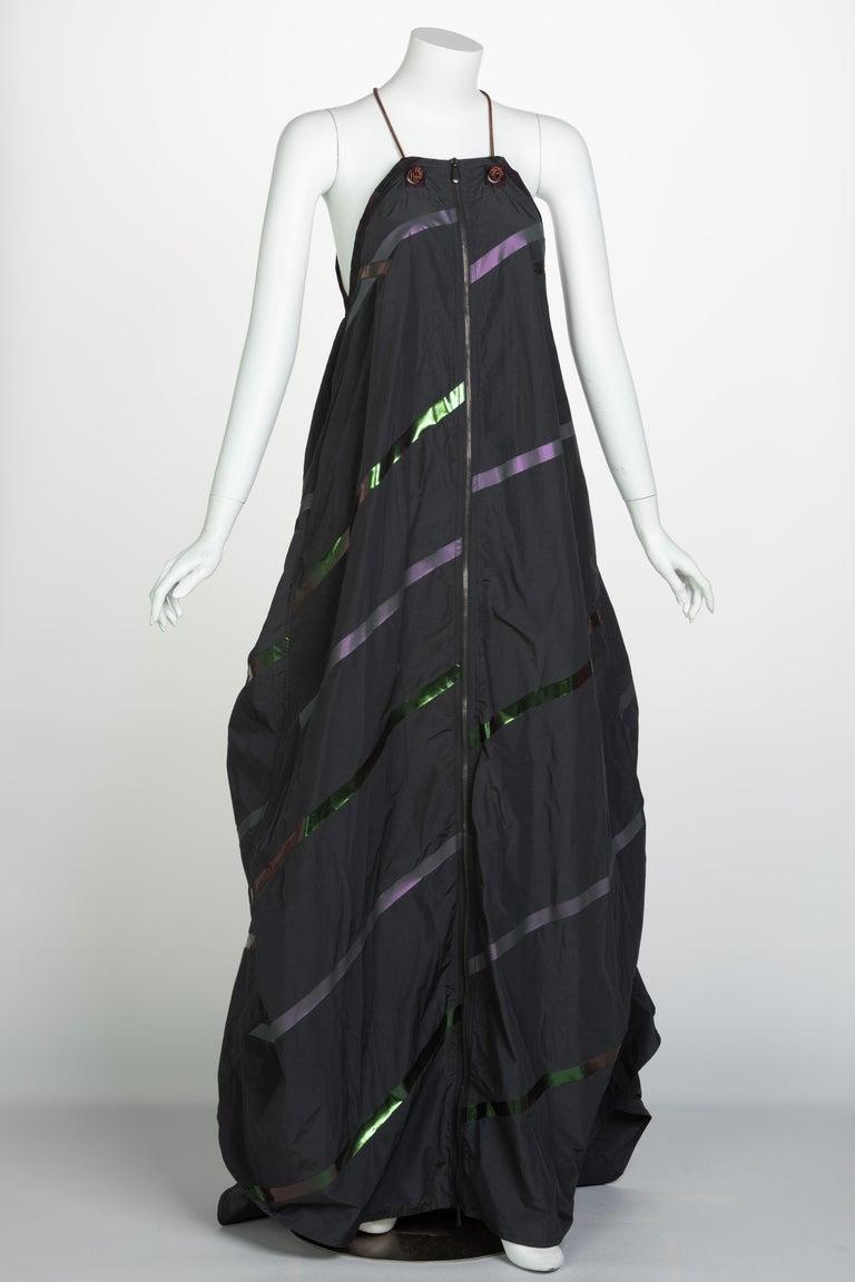 Women's Bottega Veneta Grey Stripe Zipper Gown Runway Spring 2016 For Sale