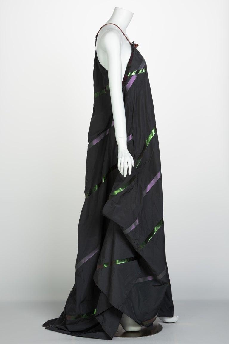 Bottega Veneta Grey Stripe Zipper Gown Runway Spring 2016 For Sale 1