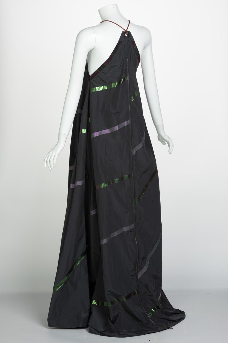 Bottega Veneta Grey Stripe Zipper Gown Runway Spring 2016 For Sale 3