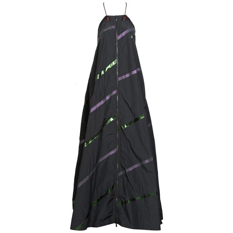 Bottega Veneta Grey Stripe Zipper Gown Runway Spring 2016 For Sale