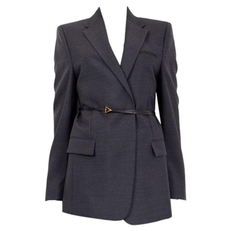 BOTTEGA VENETA grey wool Belted Blazer Jacket 36 XXS