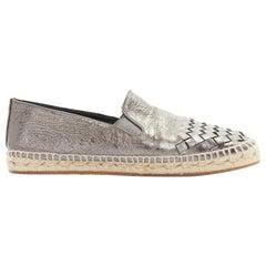 BOTTEGA VENETA gunmetal silver intrecciato woven leather espadrille shoe EU37