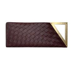 Bottega Veneta Intrecciato Burgundy Leather BV Rim Clutch