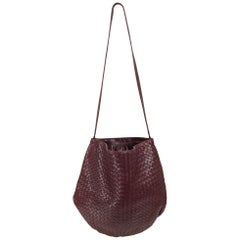 Bottega Veneta Intrecciato Burgundy Leather Shoulder Bag