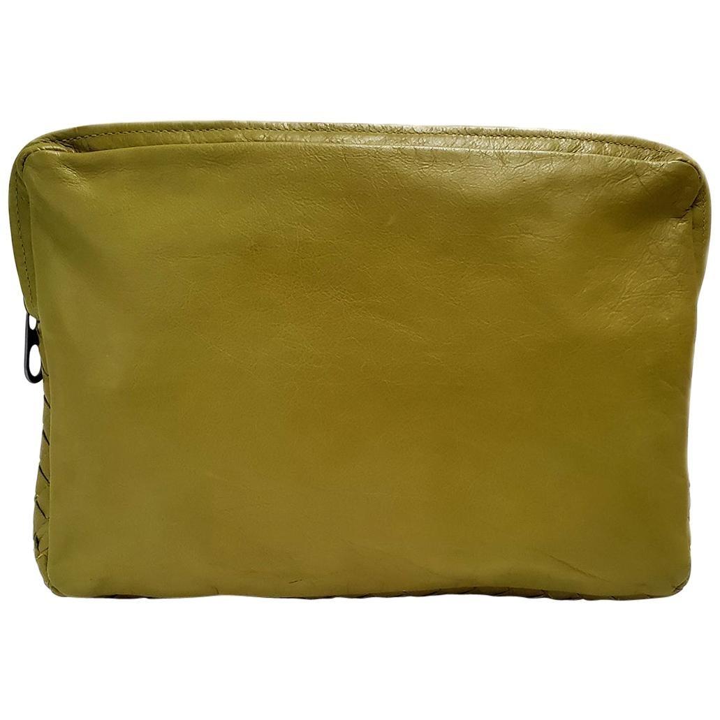 Bottega Veneta Intrecciato Green Woven Pouch Handbag