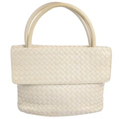 Bottega Veneta Intrecciato Leather Bag Vintage Cream Woven Top Handle Handbag