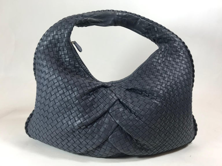 Black Bottega Veneta Intrecciato Leather Hobo For Sale