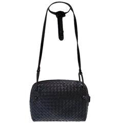 Bottega Veneta Intrecciato Nodini Black Woven Crossbody Handbag