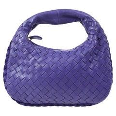 Bottega Veneta Intrecciato Purple Leather Small Mini Top Handle Pochette Bag