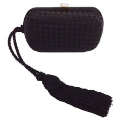 Bottega Veneta Intrecciato Tassel Silk Black Clutch