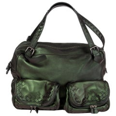 BOTTEGA VENETA iridescent green leather INTRECCIATO TWO POCKET Shoulder Bag