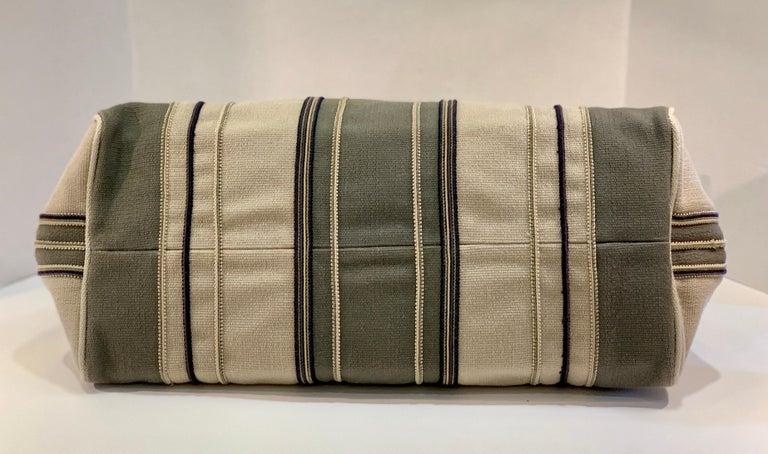 Bottega Veneta Italy Striped Canvas Purse with Distressed Saddle Leather Handles For Sale 6