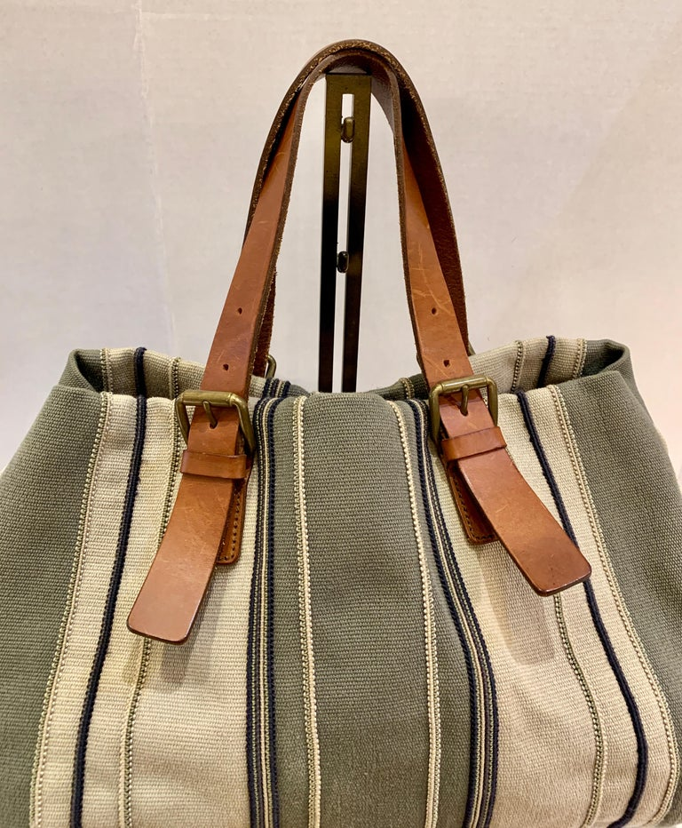 Brown Bottega Veneta Italy Striped Canvas Purse with Distressed Saddle Leather Handles For Sale