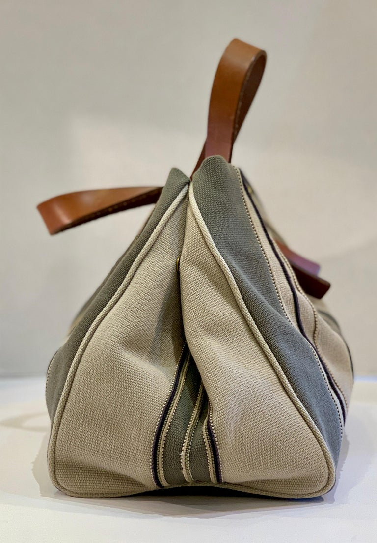 Bottega Veneta Italy Striped Canvas Purse with Distressed Saddle Leather Handles In Good Condition For Sale In Tustin, CA