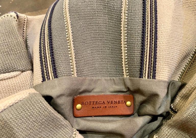 Bottega Veneta Italy Striped Canvas Purse with Distressed Saddle Leather Handles For Sale 1