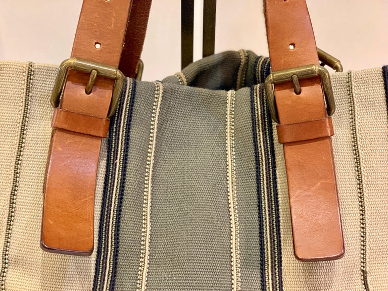 Bottega Veneta Italy Striped Canvas Purse with Distressed Saddle Leather Handles For Sale 2