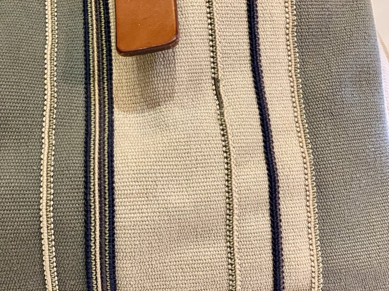 Bottega Veneta Italy Striped Canvas Purse with Distressed Saddle Leather Handles For Sale 3