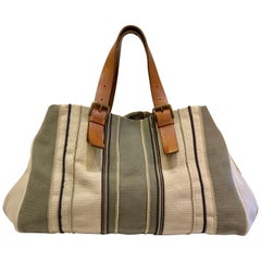Bottega Veneta Italy Striped Canvas Purse with Distressed Saddle Leather Handles